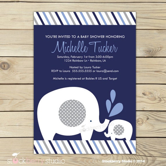 Boy Elephant Baby Shower Invitation Printable Navy Blue And