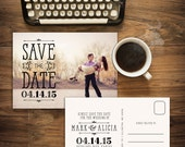 Printable Save the Date Postcard, Photo Save the Date, Vintage Save the Date, Save the Date Postcard, Hand drawn Save the Date /SPARK
