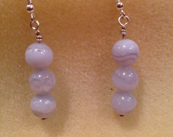 Blue Lace Agate 8mm Round Bead Sterling Silver Dangle Drop Earrings for Stress, Baby Blues, Depression, Thyroid High Blood Pressure