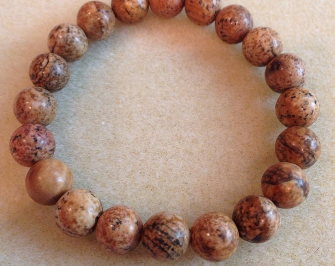 Picture Jasper 10mm Round Stretch Bracelet