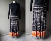 Vintage 70's MAXI Dress - Black & Orange Boho Long Sleeve Dress - Medium