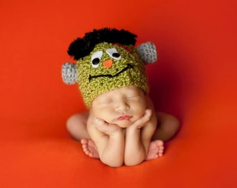 Newborn Crochet Frankenstein Hat