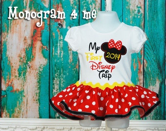 My First Disney Trip Girls Dress, Minnie mouse Birthday dress