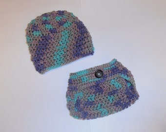 CLEARANCE crochet diaper cover with hat set, newborn, baby shower gift, photo prop