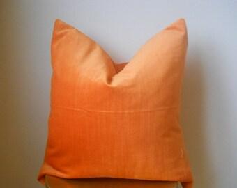 Designer cotton orange velvet toss throw decorative pillow cover 18 20  luxe rustic spice