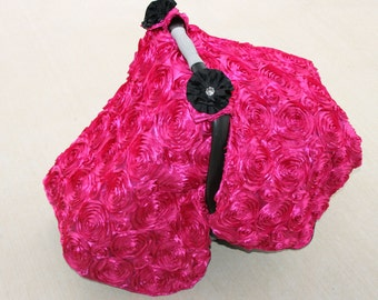 Custom Hot Pink 3d Roses Car Seat Canopy Tent with Floral Bling - Great Baby shower gift, Shield baby from Weather & Germs