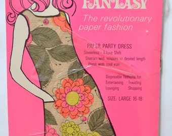 1960s Flower Fantasy Paper Dress