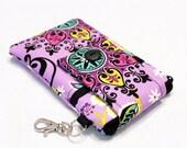 Custom fabric cell phone holder, iPhone SE, 6 6s Plus, 7 plus, 5 5s 5c 4s 4 smartphone, wallet, case, purse, sleeve, pouch-Purple Garden
