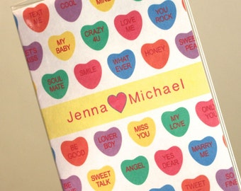 Conversation Hearts Customized Vinyl Passport Cover - Valentines Day Wedding - Great Gift for a Traveler - perfect for Valentines Day