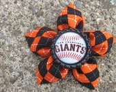 Argyle Fabric Flower Bottle Cap Hair Clip and Pin Combo for San Francisco Giants Fans