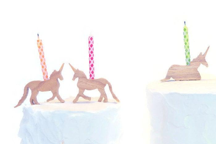 Birthday Candle Holder Wood Unicorn Celebrate by askamarmot