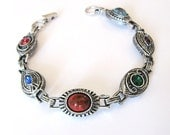 Sarah Coventry, Silver Bracelet Multi Color Stones Signed Sarah, 1970s Fascination