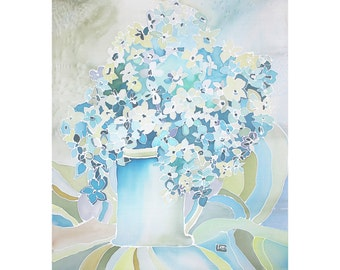 Blooming Hydrangeas Original Silk Painting Wall Art Canva Art Floral Painting Blue Silver