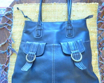 Beautiful Large Black Leather Purse with Pockets