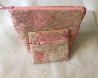 Pink and Cream Batik Zippered Pouch and Coin Purse, Batik Floral Cosmetic Bag, Quiltsy Handmade