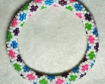 Springtime Diamonds Seed Bead Crochet Bangle - Ready to Ship