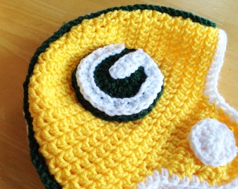 Green Bay Packers Helmet, Crochet Football Helmet Hat, Sizes 12 months to 4t available