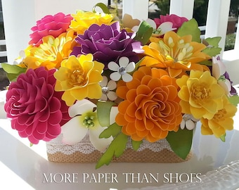 Paper Flower Centerpiece - Table Arrangement - Wedding Flowers - baby Shower - Special Events - Custom Colors - Made To Order