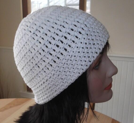Bonnet Crochet Beanie White Crochet bonnet coton blanc bonnet coton Beanie femmes Mens blanc bonnet en