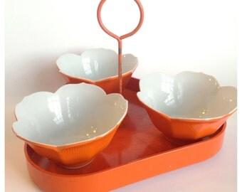 Mid Century Orange Lotus Bowls