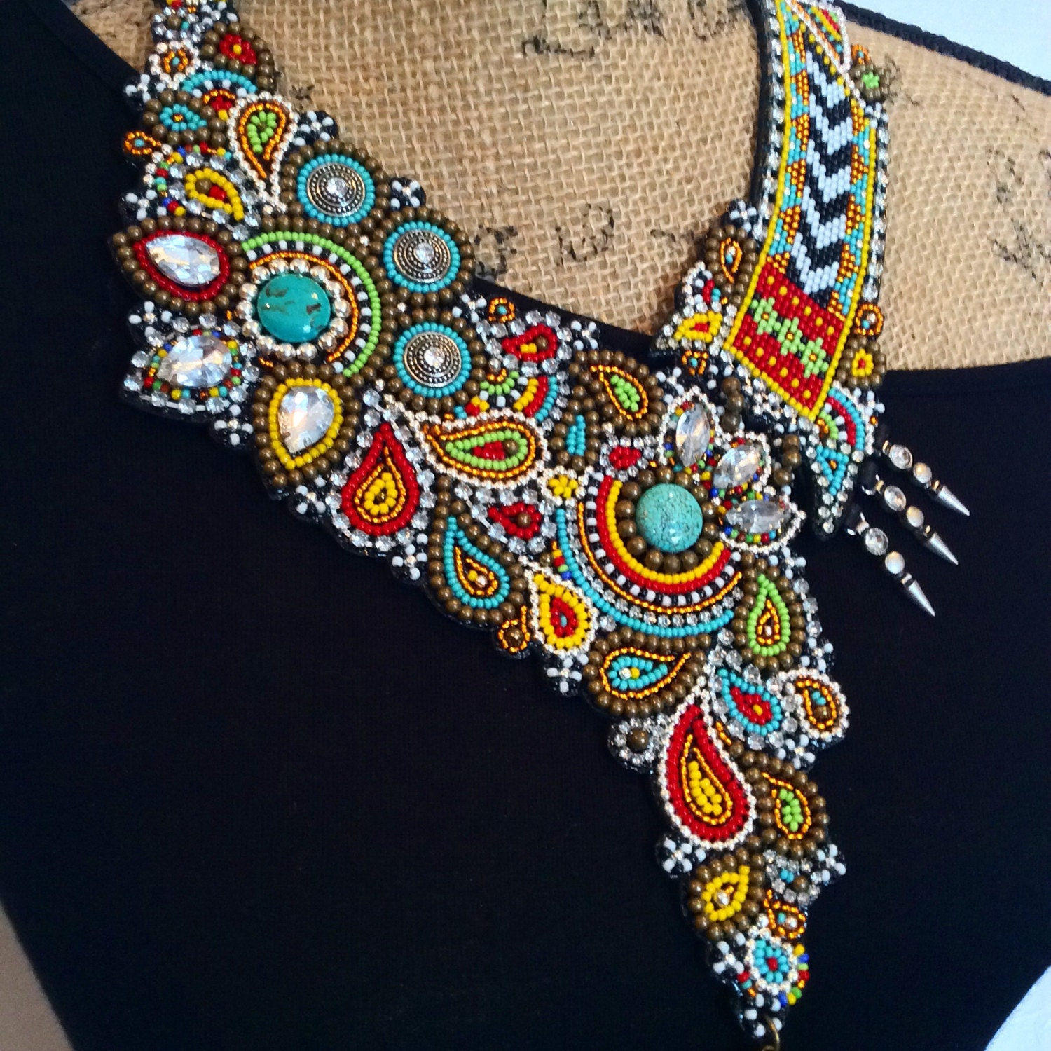 Asymmetrical bead embroidery necklace with tassel statement