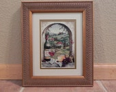 Tuscan Scene Framed Cross Stitched Picture