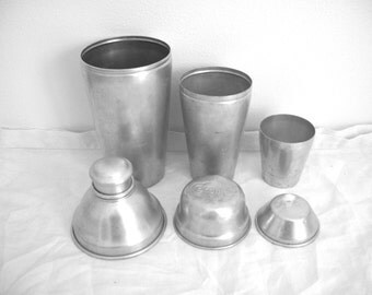 Vintage Aluminum Shakers - Cocomalt - Mirro Cocktail Shaker - Barware