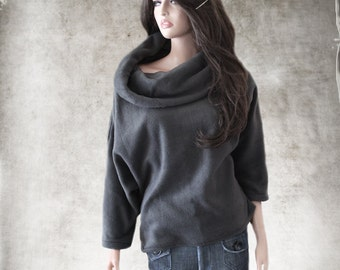 Cowl neck top/half sleeve gray/fleece pull over/knit shirt