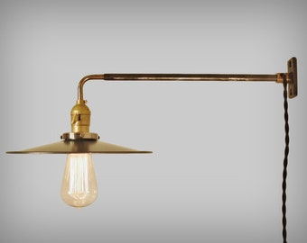 Vintage Industrial Wall Mount Light - FLAT STEEL SHADE - Machine Age Trouble Lamp Sconce