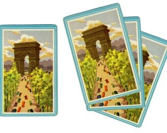 PARIS LANDMARK (4) Vintage Single Swap Playing Cards Paper Ephemera Scrapbook