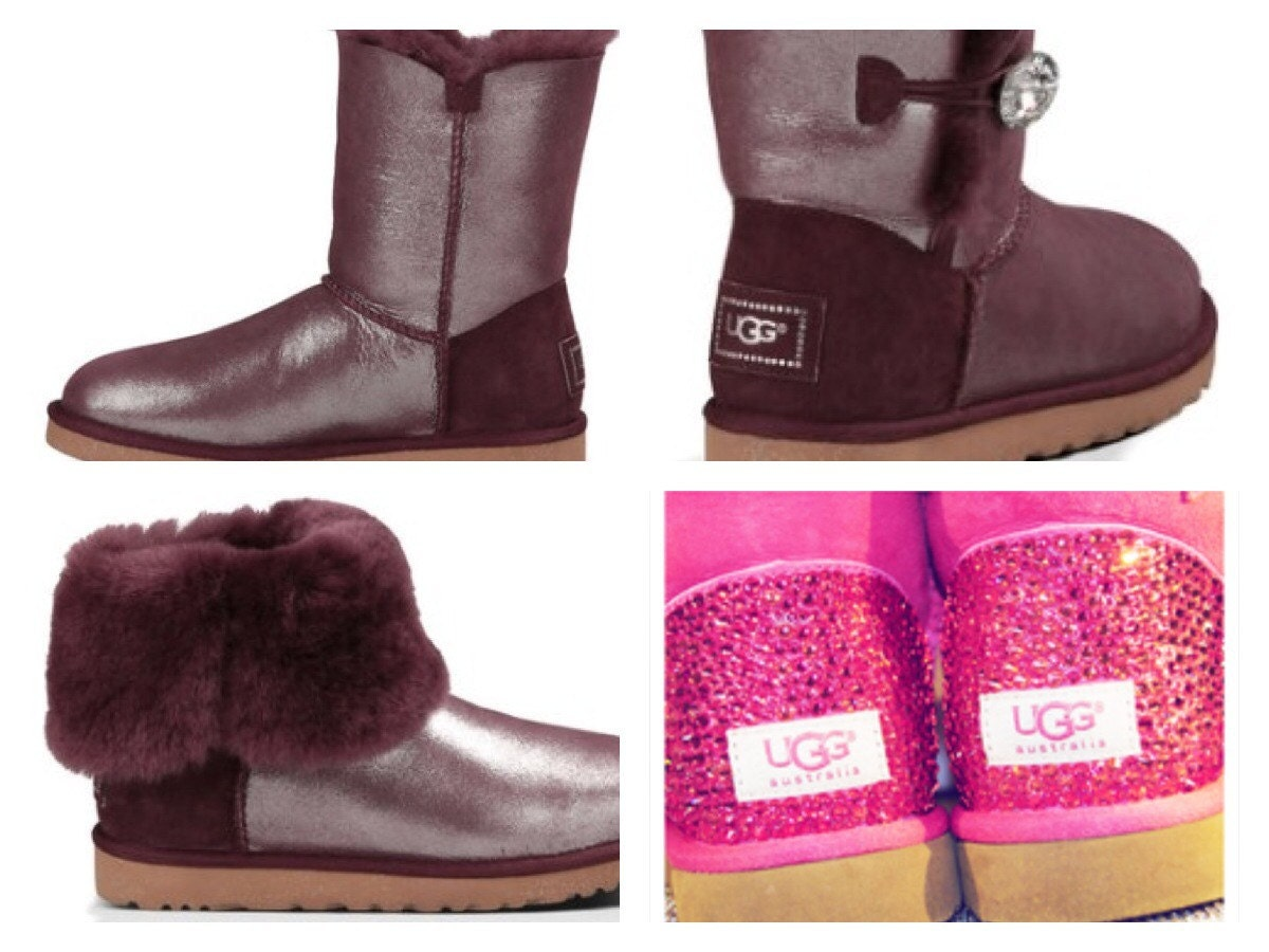 custom ugg boots made with swarovski bailey button by
