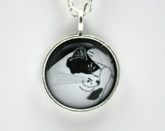 Sleeping cat pendant, smiling cat, black and white kitty, pussy cat jewelry, gift for cat lover, crazy cat lady, chat gato, wearable art