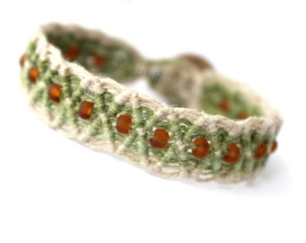 Natural Macrame Hemp Bracelet, Green and Brown Diamond with Glass Beads