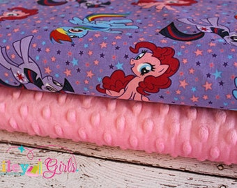 "Toddler Minky Blanket Kit in My Little Pony Purple Ponies, Complete Kit to Make a Minky Blanket (40""x50"") PDF Pattern Included"