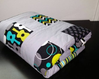 "ReADY To sHIp- MoDERn Baby Boy Crib/Toddler Bed Quilt, Handmade. Michael Miller's Groovy Guitars, Lagoon fabrics, Lime Green Minky 33"" X 46"""