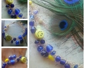 SALE. Because I'm Happy. Wire Crocheted Bracelet. Blue and Yellow. Happy Face