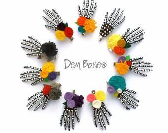 Custom Skeleton Hair Clips // Valentine Gift //  Skeleton Hand Hair Clip, Gothic Lolita, Skeleton Clip, Pastel Goth, Skull Hand Hair Clip