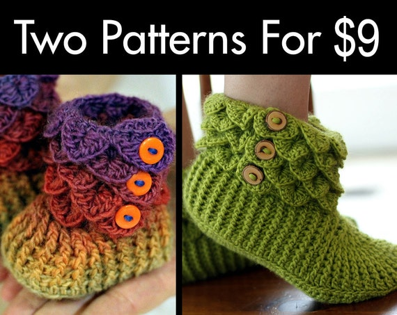 CROCHET PATTERN: Two Boot Patterns (Crocodile Stitch Baby/Adult) for 9 - Permission to Sell Finished Product
