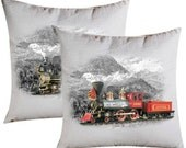 TRAINS LOCOMOTIVE STEAM Model Railways 474  iron-on-transfer railroad train t-shirts pillows home decor printable 2 sheets digital Images