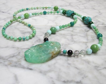 Natural Aqua Stone and Crystal Throat Chakra Healing Balancing Necklace with Carved Chrysoprase Floral Pendant