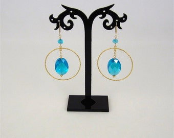 Gold filled hoop earrings with Blue Topaz colored earrings. EJGH-65