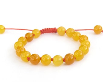 Knotted Yellow Gem Stone Knot Prayer Beads Wrist Bracelet For Meditation Yoga  T3205