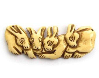 Carved Ox Bone Four Happy Lucky Rabbits Talisman Pendant Focal Bead 73mm*27mm  T3221