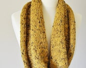 tweed infinity scarf, misted yellow infinity cowl, wool fluted cowl -