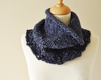 Lace Knitted Cowl Chunky Blue -