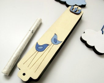Mezuzah Case with birds decoration, cream and blue wooden mezuzah for children babies and adults jewish unique gift