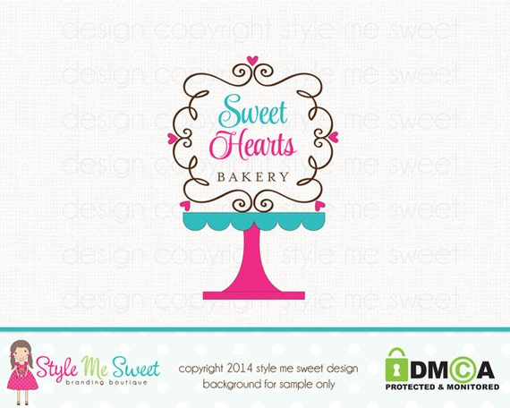 Cake Stand Logo Bakery Logo Design Bakers by ...