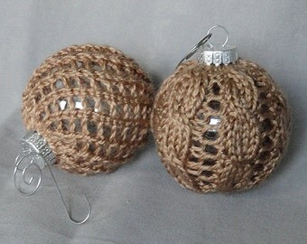 "Pair of Hand Knit 9"" Chistmas Ball Globe Ornaments in Truffle Brown with Silvertone Hangers"