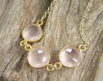Rose Quartz Necklace Triple Gemstone Connector Necklace 14K Gold Fill
