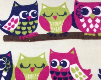 Cute Owls  - FLANNEL Fabric -32 inches
